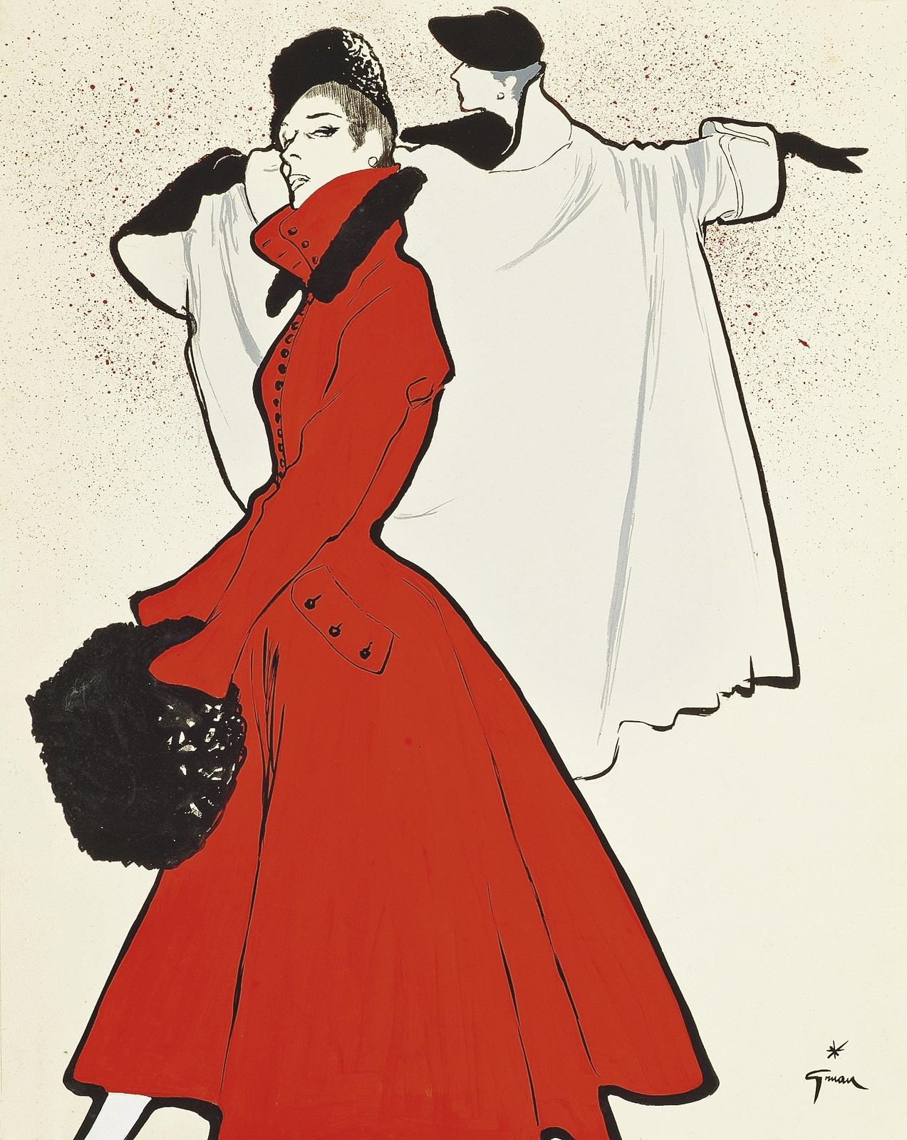 "René Gruau ""the Red Coat"" 1950"
